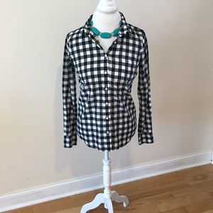 J. Crew button down plaid shirt.